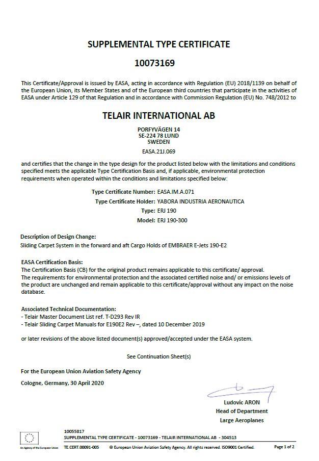 Certificate | TELAIR